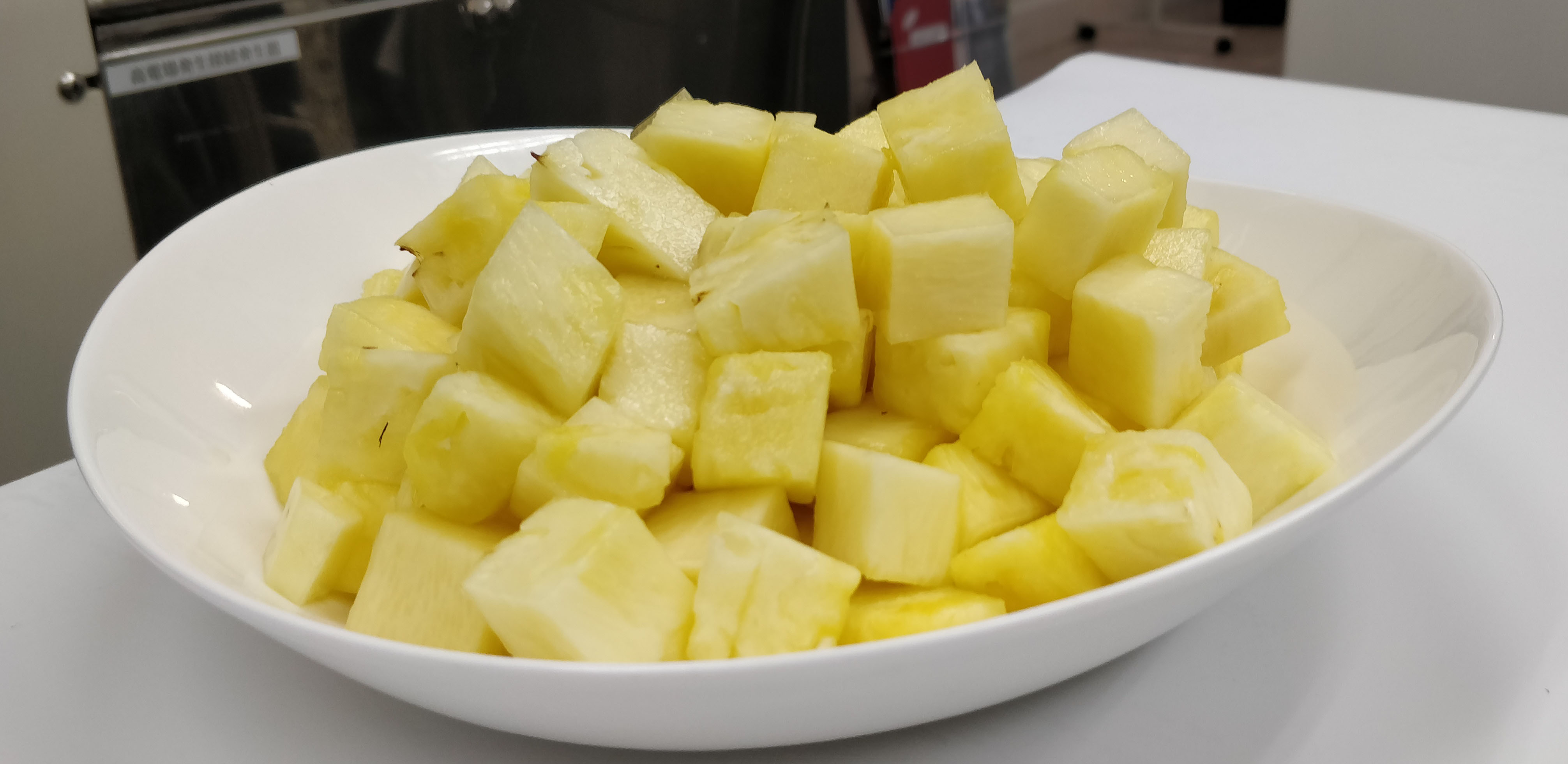 Prior to freezing pineapple