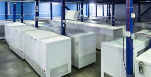 Image of storage freezers in a factory